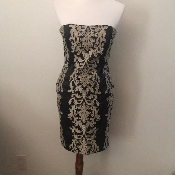 White House Black Market Dresses Black And Gold Lace Semi Formal